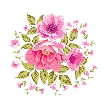 Roses, floral bouquet of flower bush. Vector illustration. Vector