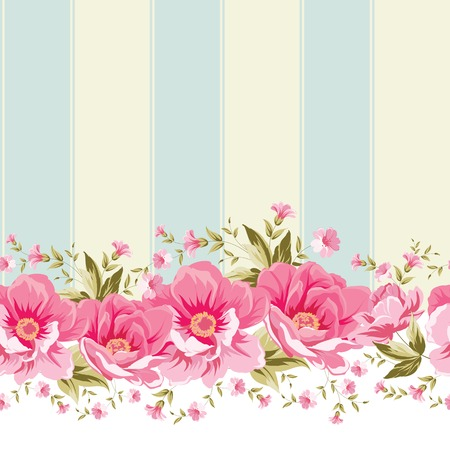 Ornate pink flower border with tile. Elegant Vintage wallpaper design. Vector illustration. Иллюстрация