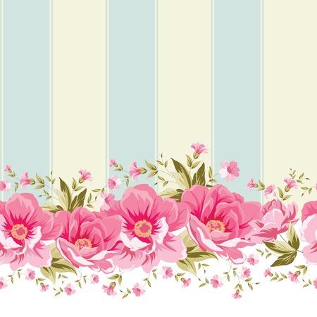 flower art: Ornato di confine fiore rosa con piastrelle. Design elegante carta da parati vintage. Illustrazione vettoriale.