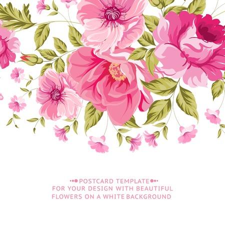 flores de cumpleaños: Adornado decoración rosada de la flor con la etiqueta de texto. Diseño de la tarjeta de felicitación del vintage elegante. Ilustración del vector. Vectores