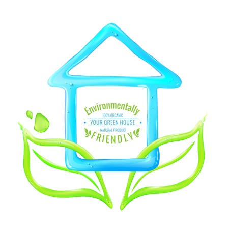 Blue house of jelly with green leaves. Vector illustration. Vector