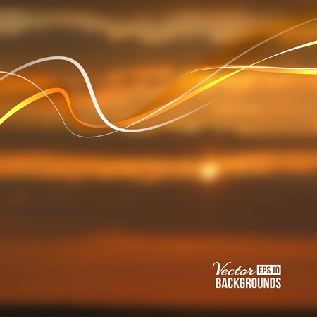 blurring: Beautiful abstract lights over sunset blur background. Vector illustration.
