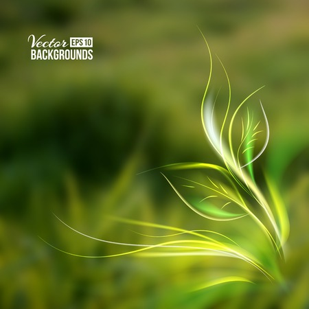 blurring: Beautiful abstract lights over grass blur background. Vector illustration.