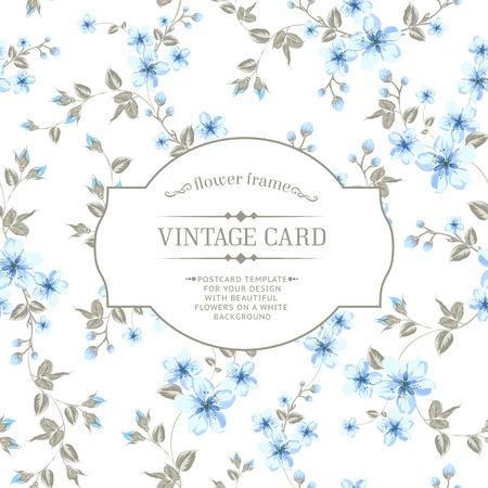 Flower texture of sakura flowers on vintage card. Vector illustration. Vector