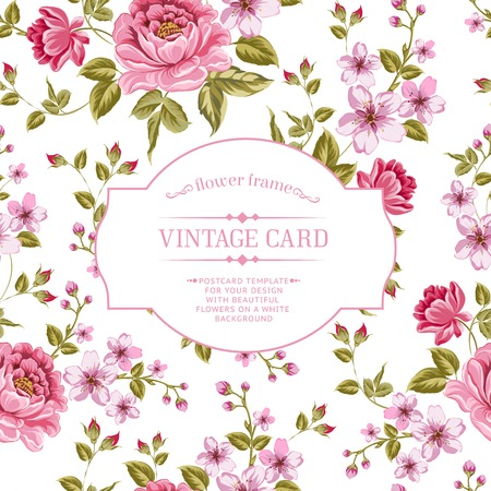 rose blanche: Fleurs de printemps bouquet de carte vintage. Vector illustration.