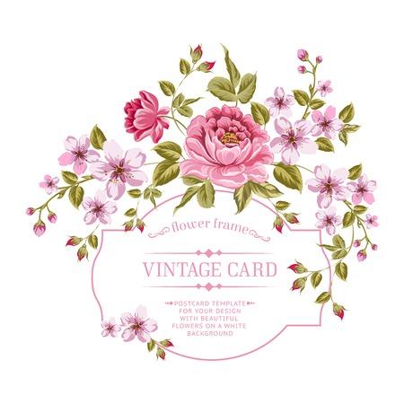 dalia: Ramo de flores de primavera para la tarjeta de la vendimia. Ilustraci�n del vector.