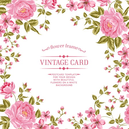background vintage: Luxurious color peony background with a vintage label. Vector illistration. Illustration