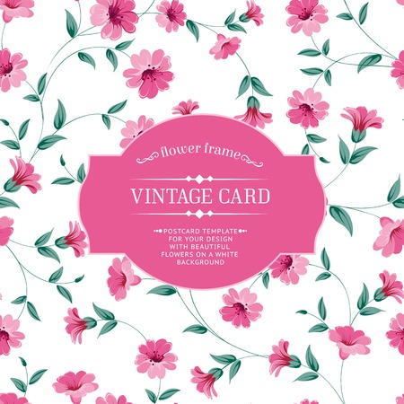Vintage card with floral pattern for your design. Vector illustration. Vector