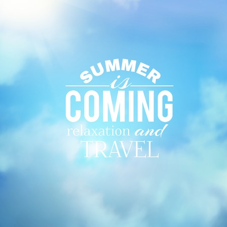 Summer background with clouds. Vector illustration. Vector