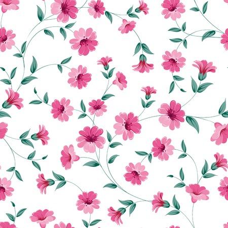 sateen: Pink flowers fabric, seampless pattern. Vector illustration. Illustration