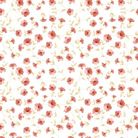 Floral seamless tilefor textile fabric. Vector illustration. Ilustração Vetorial