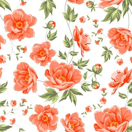 peonies: Design of vintage floral pattern. Vector illustration.