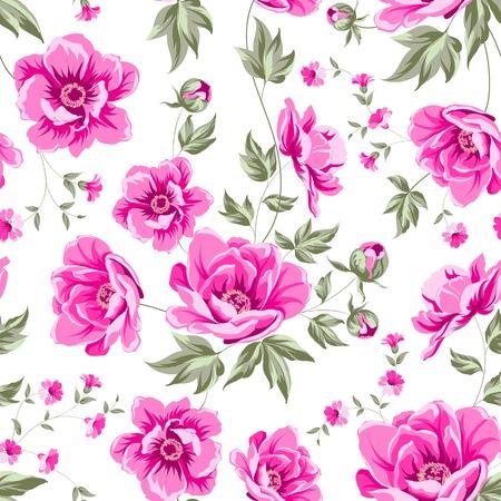 Elegant seamless peony pattern on white background. Vector illustration.