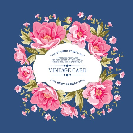 Luxurious vintage card of color peony . Vector illistration. Vector