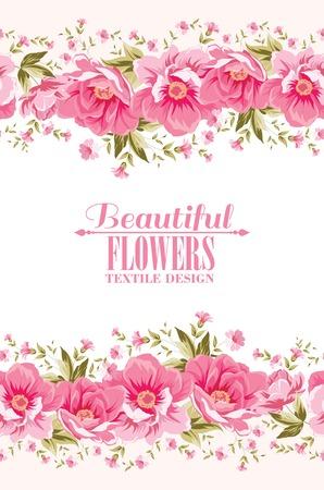 Ornate pink flower decoration with text label. Elegant Vintage Greeting card design. Vector illustration. Illustration