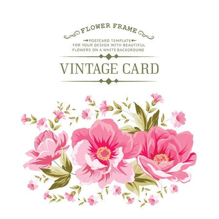 Luxurious vintage card of color peony . Vector illistration. Illustration