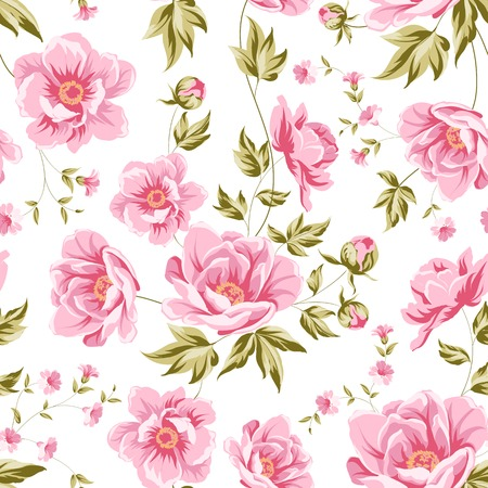 Elegant seamless peony pattern on white background. Vector illustration.