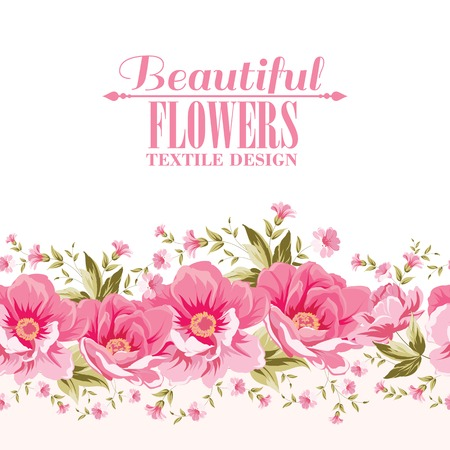Ornate pink flower decoration with text label. Elegant Vintage Greeting card design. Vector illustration. Illustration