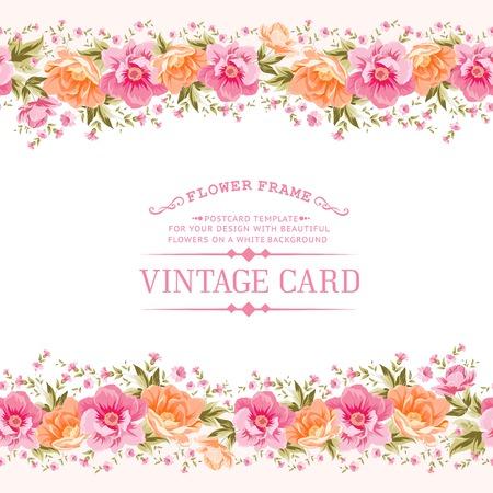 Frontera de flores de estilo vintage. Ilustración del vector. Vectores