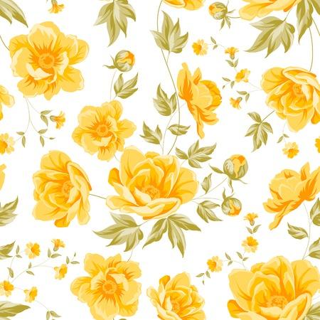yellow roses: Elegant seamless peony pattern on white background. Vector illustration.