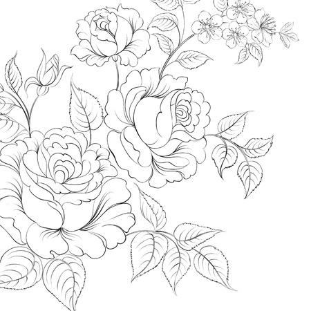 mazzo di fiori: Bouquet di rose iolated su sfondo bianco. Illustrazione vettoriale.
