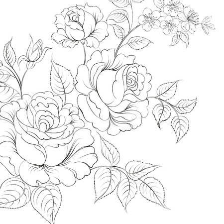 Bouquet of roses iolated on white background. Vector illustration. Vector