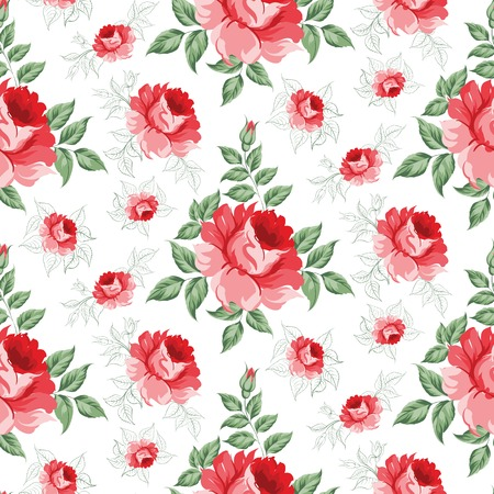 artsy: Rose seamless pattern for floral background. Vector illustration.