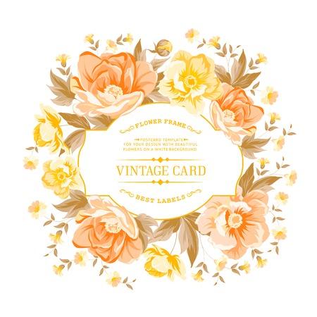 Vintage-Rahmen der gelben Blumen auf einem weißen Hintergrund. Vektor-Illustration.