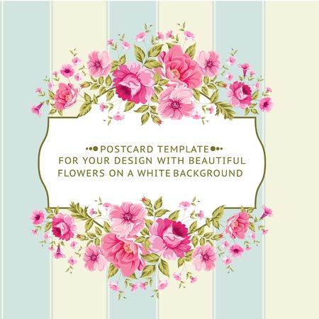 carte invitation: Bordure de fleurs dans le style vintage. Vector illustration.