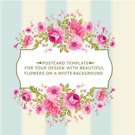 Border of flowers in vintage style. Vector illustration.