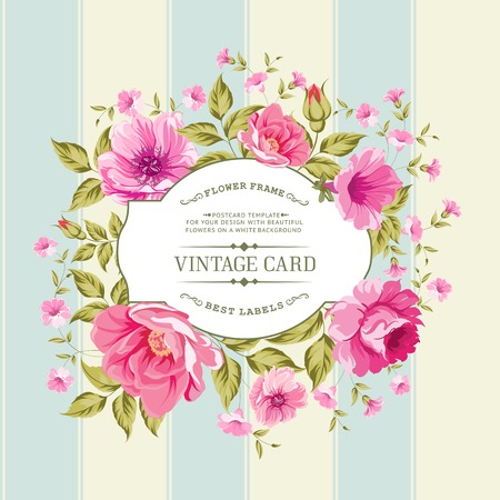 Flower label on a bright background for the design of vintage card. Vector illustration. Vector