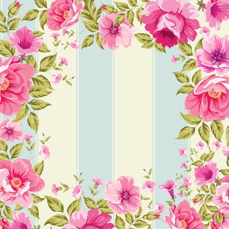 rose stem: Roses, floral wallpaper with frame. Vector illustration. Illustration