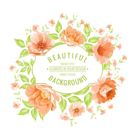 orange roses: Luxurious vintage card of color peony label. Vector illustration.