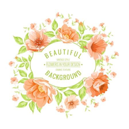 rosas naranjas: Tarjeta de la vendimia de lujo de la etiqueta de color peonía. Ilustración del vector. Vectores
