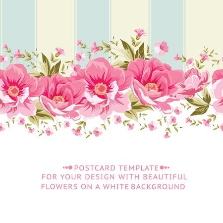 Ornate pink flower border with tile. Elegant Vintage card design. Vector illustration.