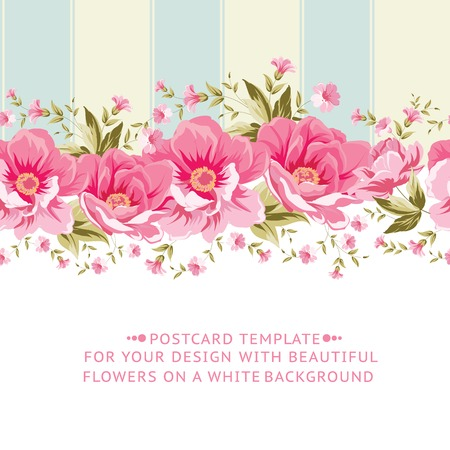 Ornate pink flower border with tile. Elegant Vintage card design. Vector illustration.