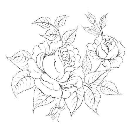 rose tattoo: Single black rose ink painted. Vector illustration.