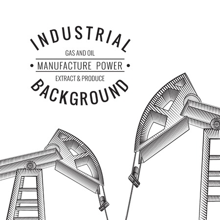 chemical industry: Oil derricks on white as a concept of oil industry. Vector illustration.