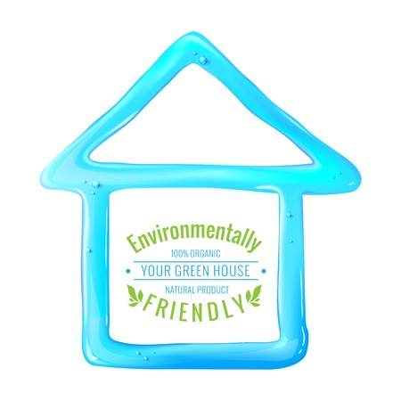 Blue house of jelly with eco label. Vector illustration. Vector