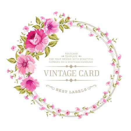 カラーラベル牡丹の豪華なヴィンテージのカード。ベクトル illistration。  イラスト・ベクター素材