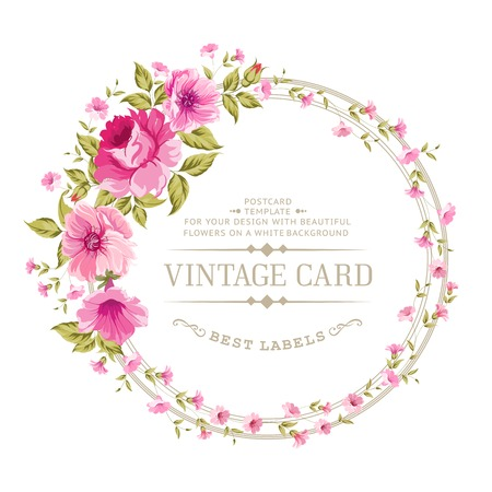 Cartão vintage luxuoso da etiqueta de cor peônia. Vector illistration.