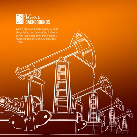 oil and gas industry: Oil pump plant over sanset background. Vector illustration.