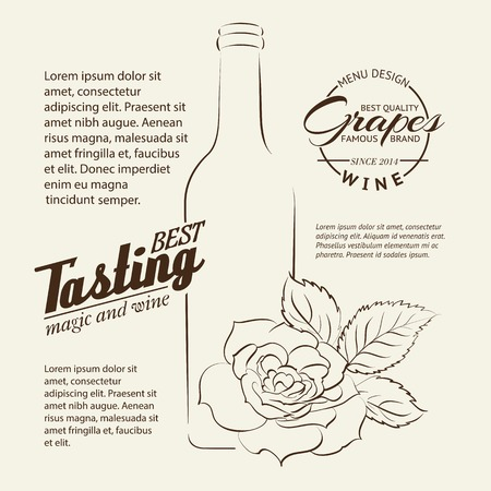 winetasting: Handwritten wine tasting sign with rose and bottle isolated over white. Vector illustration.