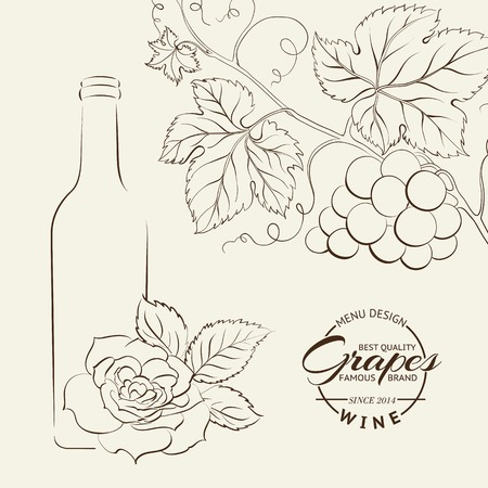 Hand drawn wine label isolated over white. Vector illustration. Ilustracja