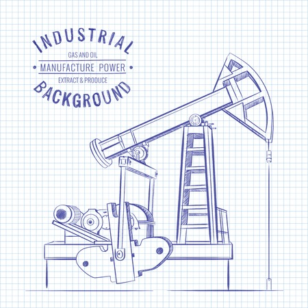 derrick: Oil pump on blue squared paper. Vector illustration.