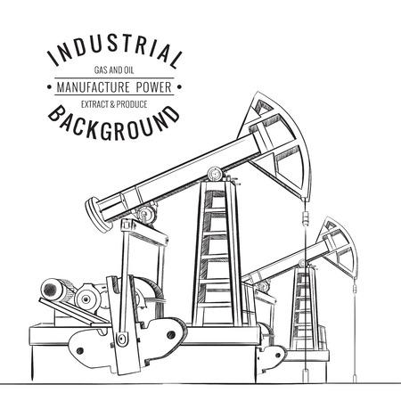 yacimiento petrolero: La bomba de aceite aislado más de blanco y texto. Ilustración del vector.