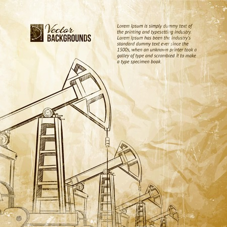 derrick: Oil pump on vintage paper. Vector illustration.