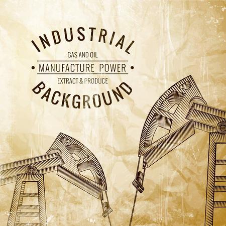 jack pump: Oil pump on vintage paper. Vector illustration.