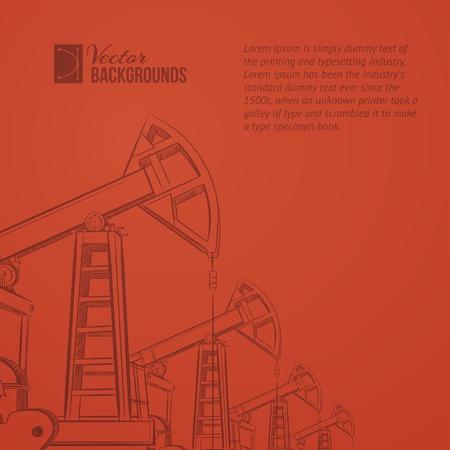 oilwell: Oil pump plant over sanset background. Vector illustration.