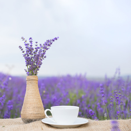 Lavender flower composition on field with vase and cup. photo